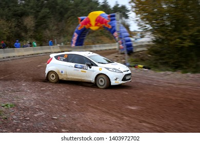 KOCAELI, TURKEY - NOVEMBER 17, 2018: Eytan Halfon drives Ford Fiesta R2 of Ford Motorsport Turkey Team in Kocaeli Rally