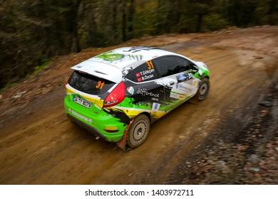 KOCAELI, TURKEY - NOVEMBER 17, 2018: Tarik Gokcen drives Ford Fiesta R2T of Ford Motorsport Turkey Team in Kocaeli Rally