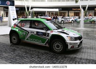 KOCAELI, TURKEY - NOVEMBER 17, 2018: Burak Cukurova with Skoda Fabia R5 of BC Vision Motorsport Team in ceremonial start of Kocaeli Rally