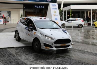 KOCAELI, TURKEY - NOVEMBER 17, 2018: Kaan Karamanoglu with Ford Fiesta R2T of Ford Motorsport Turkey Team in ceremonial start of Kocaeli Rally