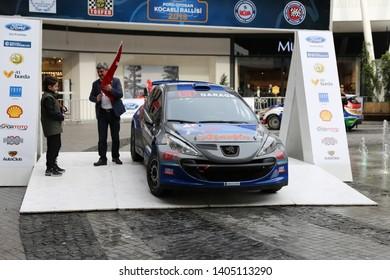 KOCAELI, TURKEY - NOVEMBER 17, 2018: Hakki Agaolu with Peugeot 207 S2000 of GP Garage My Team in ceremonial start of Kocaeli Rally
