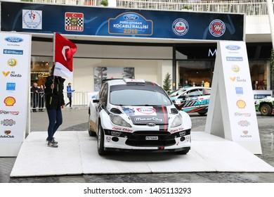 KOCAELI, TURKEY - NOVEMBER 17, 2018: Cevdet Alpturk with Ford Fiesta S2000 of Nethouse Rally Team in ceremonial start of Kocaeli Rally