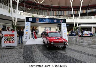 KOCAELI, TURKEY - NOVEMBER 17, 2018: Historic Anadol in ceremonial start of Kocaeli Rally