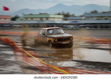 KOCAELI, TURKEY - NOVEMBER 17, 2018: Haydar Guclu drives BMW 2002 TI in Kocaeli Rally