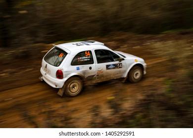 KOCAELI, TURKEY - NOVEMBER 17, 2018: Efe Albaglar drives Opel Corsa Kit Car in Kocaeli Rally