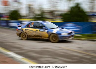 KOCAELI, TURKEY - NOVEMBER 17, 2018: Yavuzhan Cabbaroglu drives Subaru Impreza in Kocaeli Rally