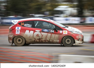 KOCAELI, TURKEY - NOVEMBER 17, 2018: Halil Mulla drives Ford Fiesta R2 of Nethouse Rally Team in Kocaeli Rally