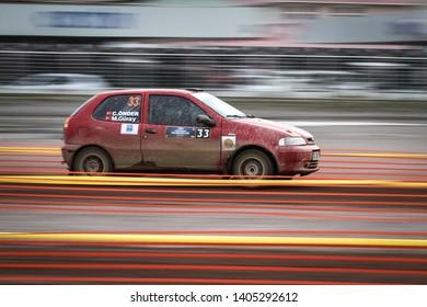 KOCAELI, TURKEY - NOVEMBER 17, 2018: Murat Guray drives Fiat Palio in Kocaeli Rally