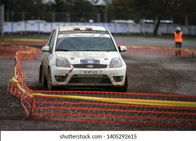 KOCAELI, TURKEY - NOVEMBER 17, 2018: Ahmet Tuna Muhtar drives Ford Fiesta ST of Ford Motorsport Turkey Team in Kocaeli Rally