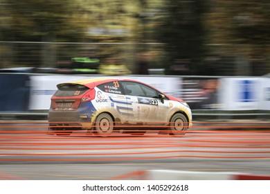 KOCAELI, TURKEY - NOVEMBER 17, 2018: Emrah Ali Baso drives Ford Fiesta R1 of Ford Motorsport Turkey Team in Kocaeli Rally