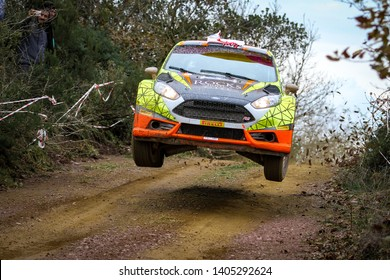 KOCAELI, TURKEY - NOVEMBER 17, 2018: Deniz Fahri drives Ford Fiesta R5 of Ford Motorsport Turkey Team in Kocaeli Rally