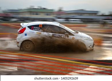 KOCAELI, TURKEY - NOVEMBER 17, 2018: Hakan Kerci drives Ford Fiesta R1 of Ford Motorsport Turkey Team in Kocaeli Rally