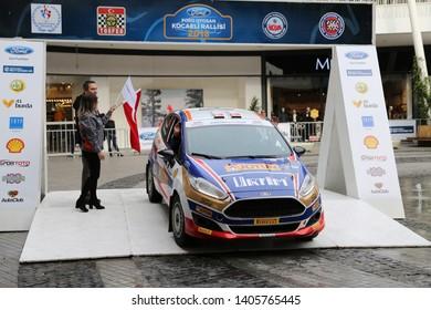 KOCAELI, TURKEY - NOVEMBER 17, 2018: Umit Can Ozdemir with Ford Fiesta R2T of Ford Motorsport Turkey Team in ceremonial start of Kocaeli Rally