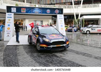 KOCAELI, TURKEY - NOVEMBER 17, 2018: Yagiz Avci with Ford Fiesta R5 of Ford Motorsport Turkey Team in ceremonial start of Kocaeli Rally