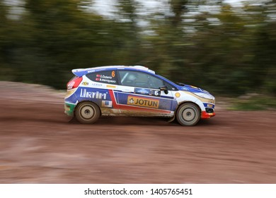 KOCAELI, TURKEY - NOVEMBER 17, 2018: Umit Can Ozdemir drives Ford Fiesta R2T of Ford Motorsport Turkey Team in Kocaeli Rally