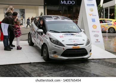 KOCAELI, TURKEY - NOVEMBER 17, 2018: And Sunman with Ford Fiesta R2 of Ford Motorsport Turkey Team in ceremonial start of Kocaeli Rally