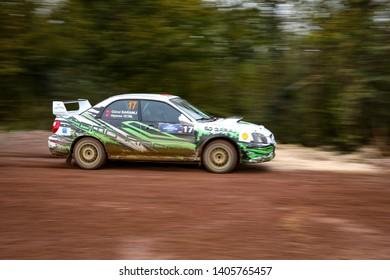 KOCAELI, TURKEY - NOVEMBER 17, 2018: Gurol Baranli drives Subaru Impreza in Kocaeli Rally