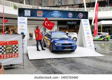 KOCAELI, TURKEY - NOVEMBER 17, 2018: Yavuzhan Cabbaroglu with Subaru Impreza in ceremonial start of Kocaeli Rally