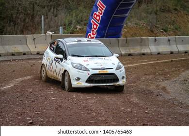 KOCAELI, TURKEY - NOVEMBER 17, 2018: And Sunman drives Ford Fiesta R2 of Ford Motorsport Turkey Team in Kocaeli Rally