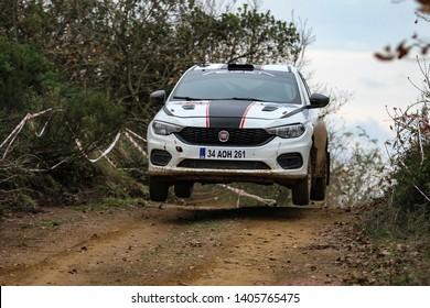 KOCAELI, TURKEY - NOVEMBER 17, 2018: Fatih Kara drives Fiat Egea 1.4 T-Jet of Fiat Motorsporlari Team in Kocaeli Rally