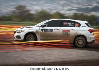 KOCAELI, TURKEY - NOVEMBER 17, 2018: Mert Kaya drives Fiat Egea 1.4 T-Jet of Fiat Motorsporlari Team in Kocaeli Rally