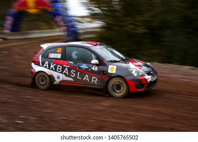 KOCAELI, TURKEY - NOVEMBER 17, 2018: Ersen Yildiz drives Ford Fiesta ST in Kocaeli Rally