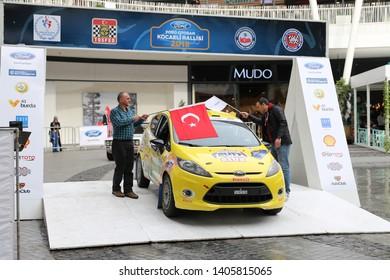 KOCAELI, TURKEY - NOVEMBER 17, 2018: Ugur Celikyay with Ford Fiesta R2 of Ford Motorsport Turkey Team in ceremonial start of Kocaeli Rally