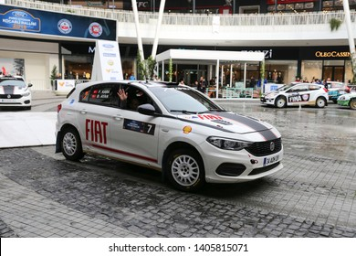 KOCAELI, TURKEY - NOVEMBER 17, 2018: Fatih Kara with Fiat Egea 1.4 T-Jet of Fiat Motorsporlari Team in ceremonial start of Kocaeli Rally