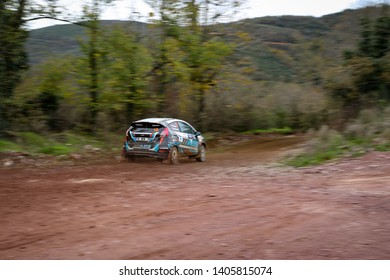 KOCAELI, TURKEY - NOVEMBER 17, 2018: Ismet Toktas drives Ford Fiesta R2T of Ford Motorsport Turkey Team in Kocaeli Rally