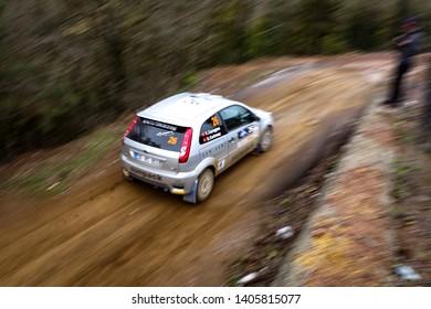 KOCAELI, TURKEY - NOVEMBER 17, 2018: Kemal Gamgam drives Ford Fiesta ST of Ford Motorsport Turkey Team in Kocaeli Rally