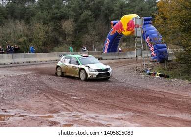 KOCAELI, TURKEY - NOVEMBER 17, 2018: Burak Cukurova drives Skoda Fabia R5 of BC Vision Motorsport Team in Kocaeli Rally