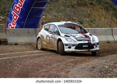 KOCAELI, TURKEY - NOVEMBER 17, 2018: Cevdet Alpturk drives Ford Fiesta S2000 of Nethouse Rally Team in Kocaeli Rally