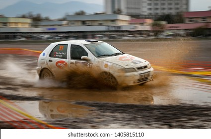 KOCAELI, TURKEY - NOVEMBER 17, 2018: Mert Gur drives Fiat Palio in Kocaeli Rally