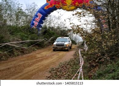 KOCAELI, TURKEY - NOVEMBER 17, 2018: Yilmaz Koprucu drives Opel Kadett D in Kocaeli Rally