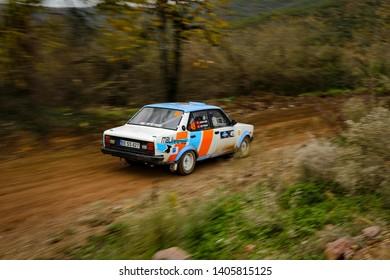 KOCAELI, TURKEY - NOVEMBER 17, 2018: Aykut Kefi drives Murat 131 in Kocaeli Rally