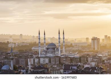Kocatepe Mosque and city skyline - Ankara, Turkey.