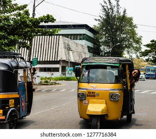 Kochi, India, 2020  Tuk-tuk ride on the streets of Kochi, India.
