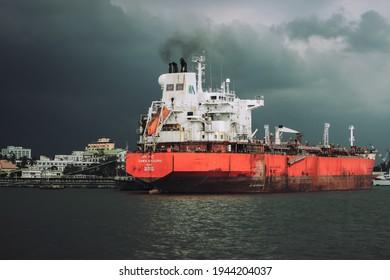 Kochi, India - April 18 2019 Ship docked at the Cochin Port