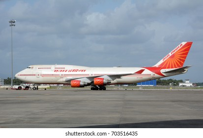KOCHI, INDIA - AUGUST 23, 2017: An Air India Boeing 747 on the tarmac at Cochin International Airport. Air India is the flag carrier airline of India.