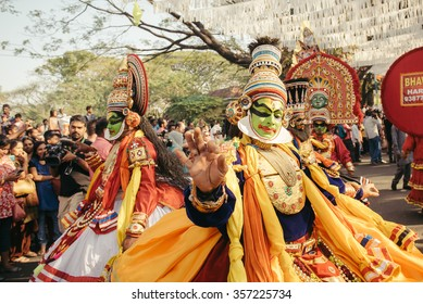 Kochi, India - January 1, 2016: Traditional Kathakali dance on New Year carnival in Fort Kochi (Cochin), Kerala, India.