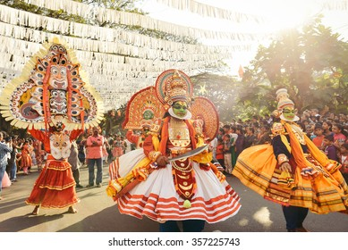 Kochi, India - January 1, 2016: Traditional Kathakali dance on New Year carnival in Fort Kochi (Cochin), Kerala, India.