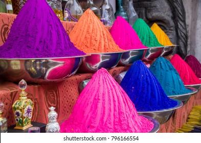 Kochi, India - January 11 2018: Colours for sale in Jew street in Kochi, India.