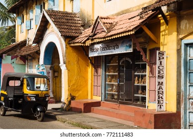 Kochi, India - November 28, 2015: Auto rickshaw (or tuk-tuk) parked on the street of the spice market is in Mattancherry