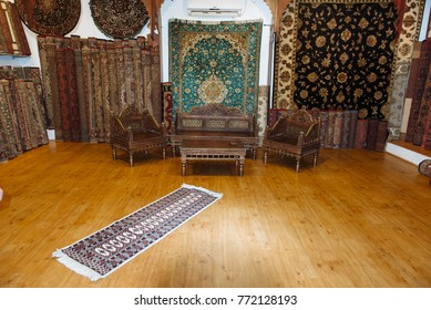 Kochi, India - November 28, 2015: Interior of carpet shop, textile with patterns inside the old indian shop (Kerala, India)