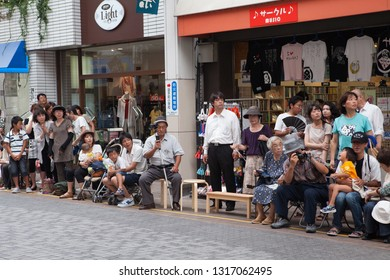 KOCHI, JAPAN, AUGUST 21,2016. The audience for traditional dance festival Dance yosakoi