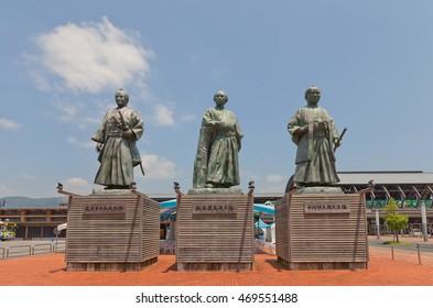 KOCHI, JAPAN - JULY 19, 2016: Statues of leaders of anti-shogun movement of Bakumatsu period near Kochi railway station, Japan. Represent Takechi Hanpeita, Sakamoto Ryoma and Nakaoka Shintaro