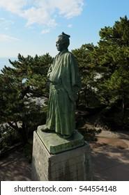 KOCHI, JAPAN - NOVEMBER 26, 2016: Statue of Sakamoto Ryoma who is a famous japanese samurai, at Katsurahama beach