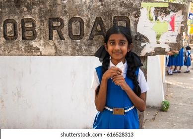 Kochi, Kerala, India. February 24, 2009. Unidentified Indian schoolgirl goes to school Kochi, Kerala, India