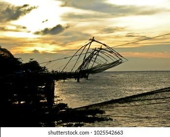 Kochi, Kerala, India - oct 2005 : the famous Chinese fishing nets in Kochi in the Kerala region of India