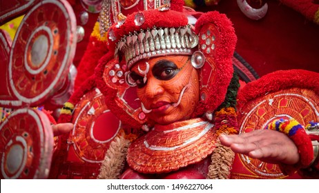 Kochi, Kerala State, India - September 2nd 2019 - Theyyam in Athachamayam procession held at Thripunithura in Kochi city